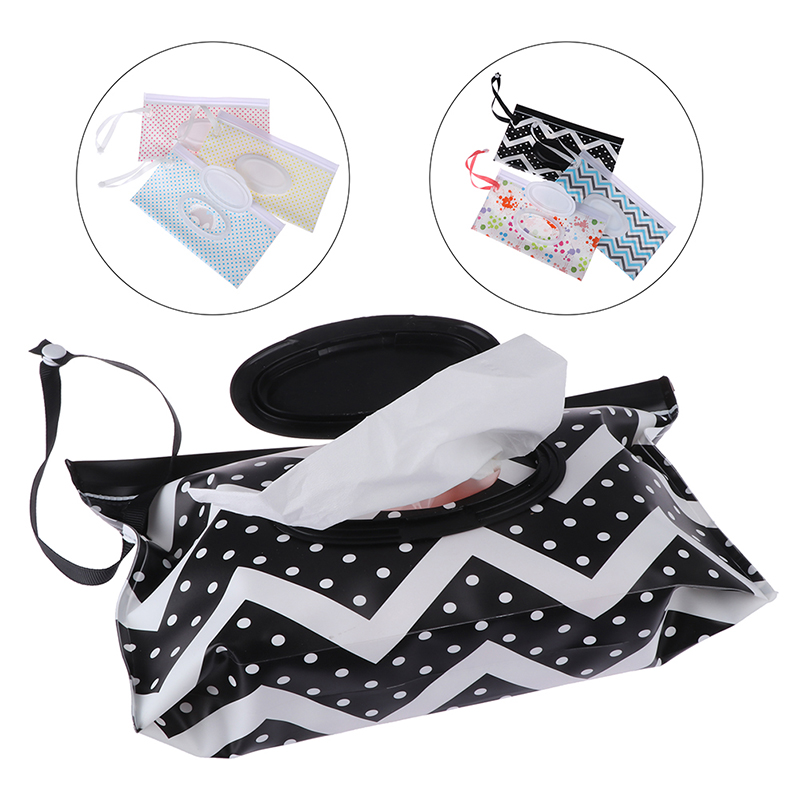 Wet Wipes Bag Snap Strap Wipes Container Clamshell Cosmetic Pouch Clutch Eco-friendly Easy-carry Cleaning Wipes Case