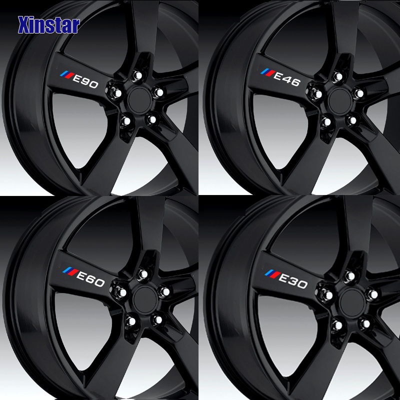 4pcs car wheel sticker for bmw E30 E34 E36 E39 E46 E60 E61E87 E90 E83 F10 F20 F21 F30 F35 image
