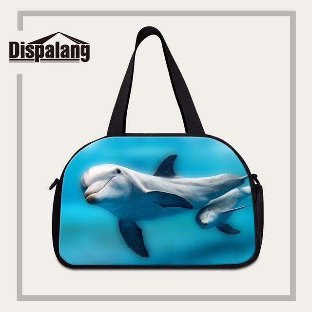 Dispalang novas das mulheres da moda sacos de viagem bagagem golfinho impressões saco portátil organizador bolsa de ombro duffle sacos de viagem necessário