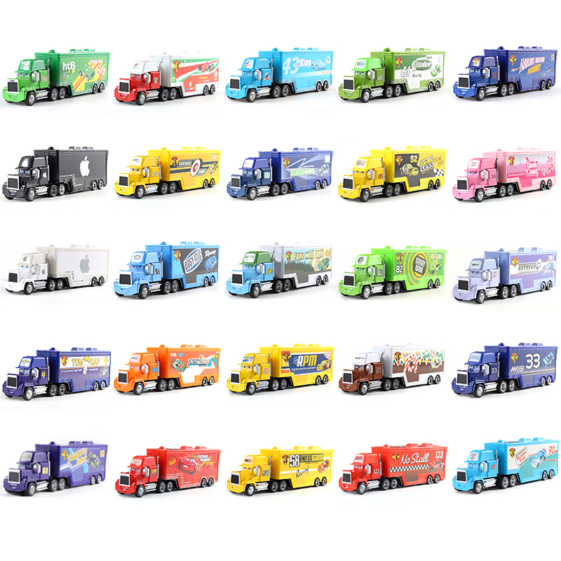 Cars Disney Pixar Cars Mack Chick Hicks King Francesco Hudson Truck Toy Car 1:55 Loose New Kid Gift Free Shipp