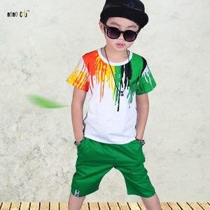 Image 4 - Подростковые спортивные костюмы, комплекты летней одежды для мальчиков, футболка с коротким рукавом и повседневные брюки, От 3 до 10 лет Детская одежда для мальчиков