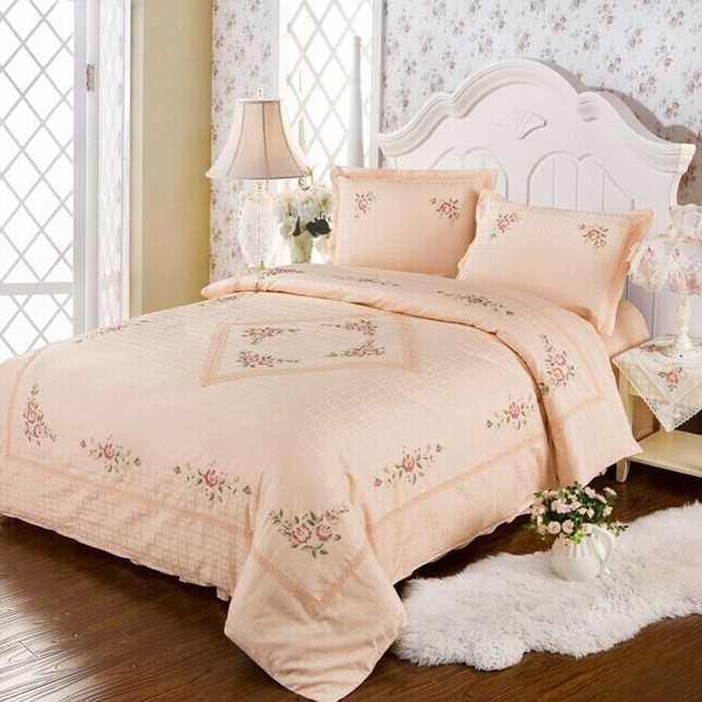 100% cotton Salmon color jacquard Cross stitch lace 4 pieces bedding ...