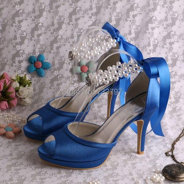 (20 Colors)Custom Handmade Women High Heels Blue Sandals Ribbon Prom Shoes Pearl
