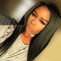 Brazilian Virgin Human Hair Yaki Straight Black Wigs Human Hair Full Lace Wigs With Natural Hairline