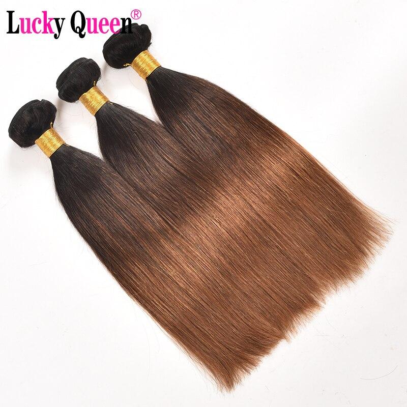 Ombre Brazilian Straight Human Hair Weave Bundles 3 Bundles Deal Ombre Hair Bundles Non Remy Hair Extensions Lucky Queen Hair