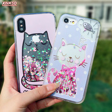 For iPhone 6 s Case 3D Cartoon Cat Fish Flower Perfume Bottle Quicksand Dynamic Liquid Glitter Case For iPhone X 6 7 8 Plus Case(China)