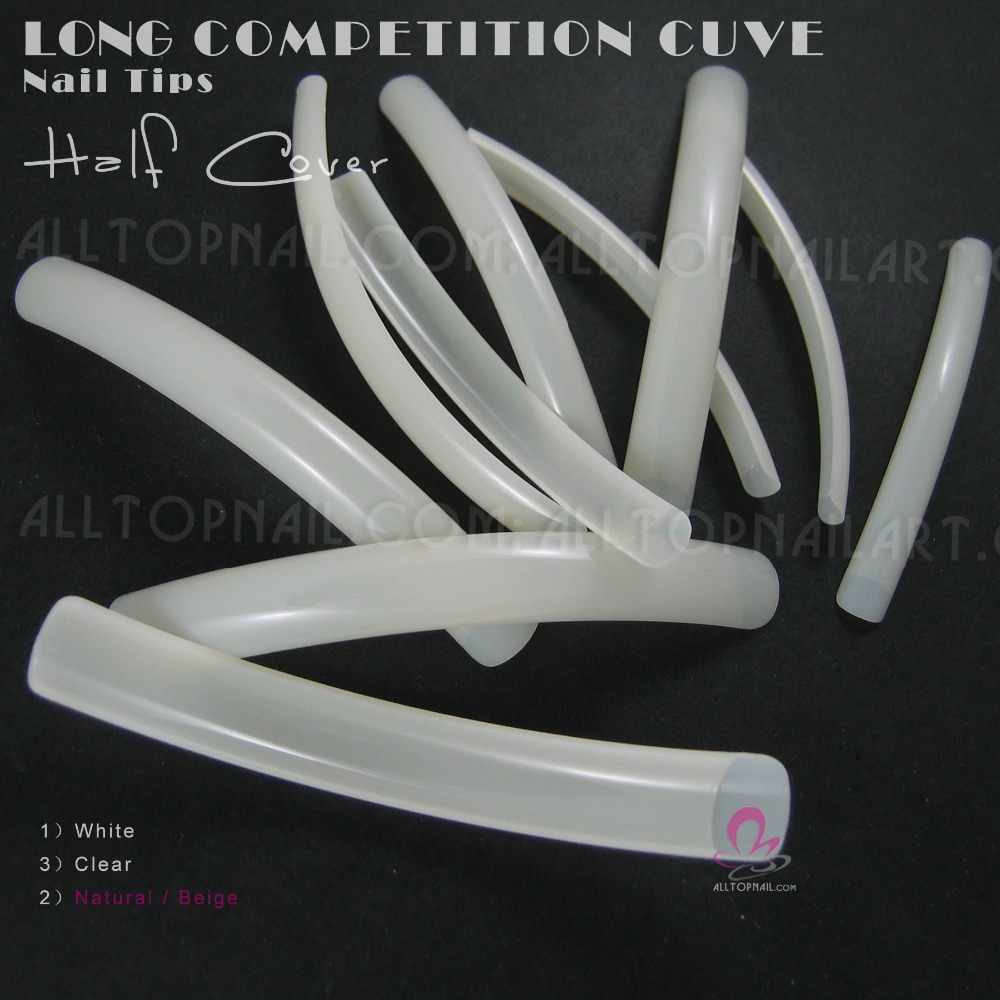 professionalism tips promotion shop for promotional professional 10pcs bag french long curve salon nail tips beige natural colour shipping