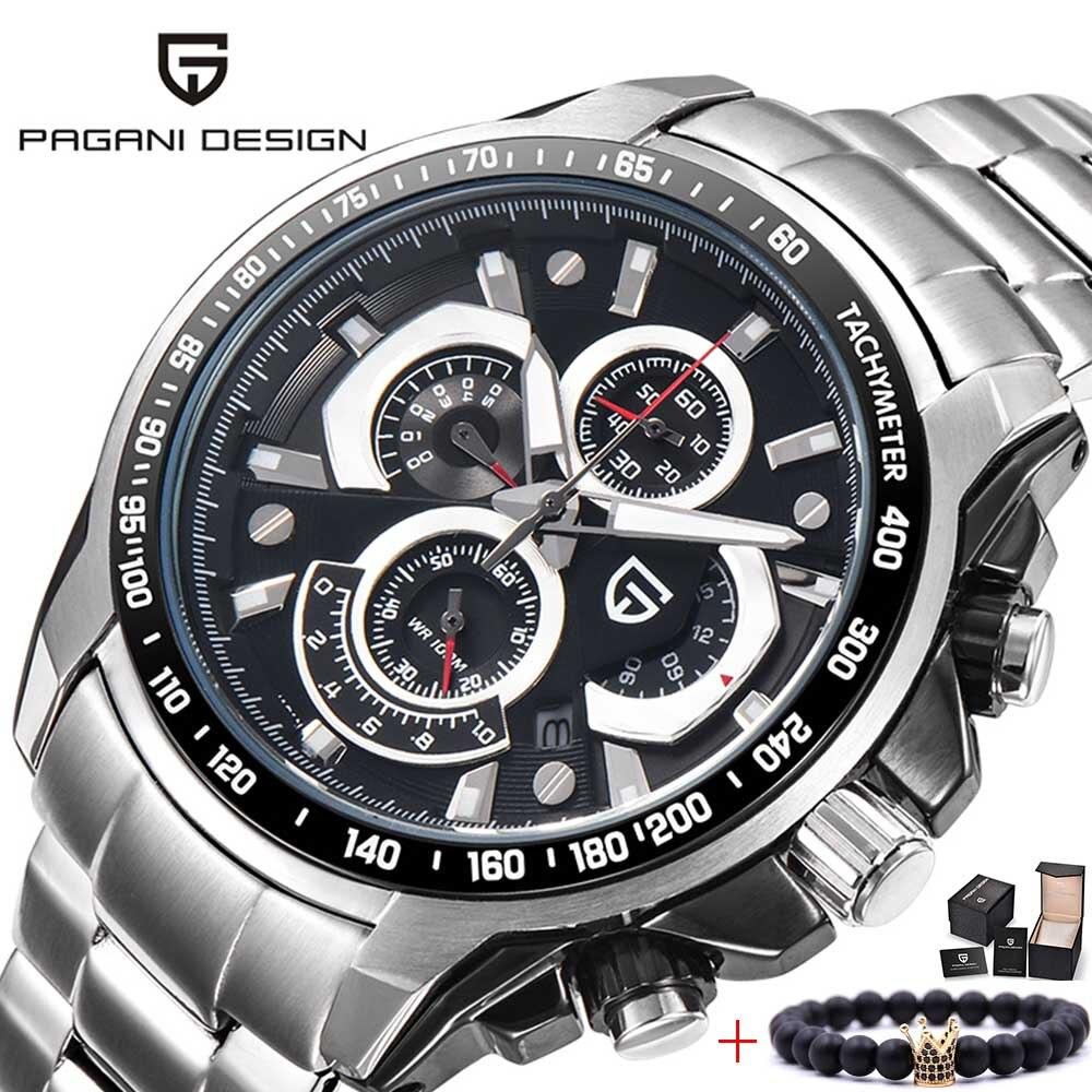 все цены на PAGANI DESIGN Top luxury brand Men Watch Waterproof Sports Watches Men Quartz Stainless Steel Military Watch Relogio Masculino