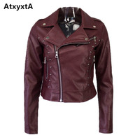 Atxyxta Casual PU Leather Jacket Women Classic Rivet Zipper Short Motorcycle Jackets Lady Spring Autumn Soft