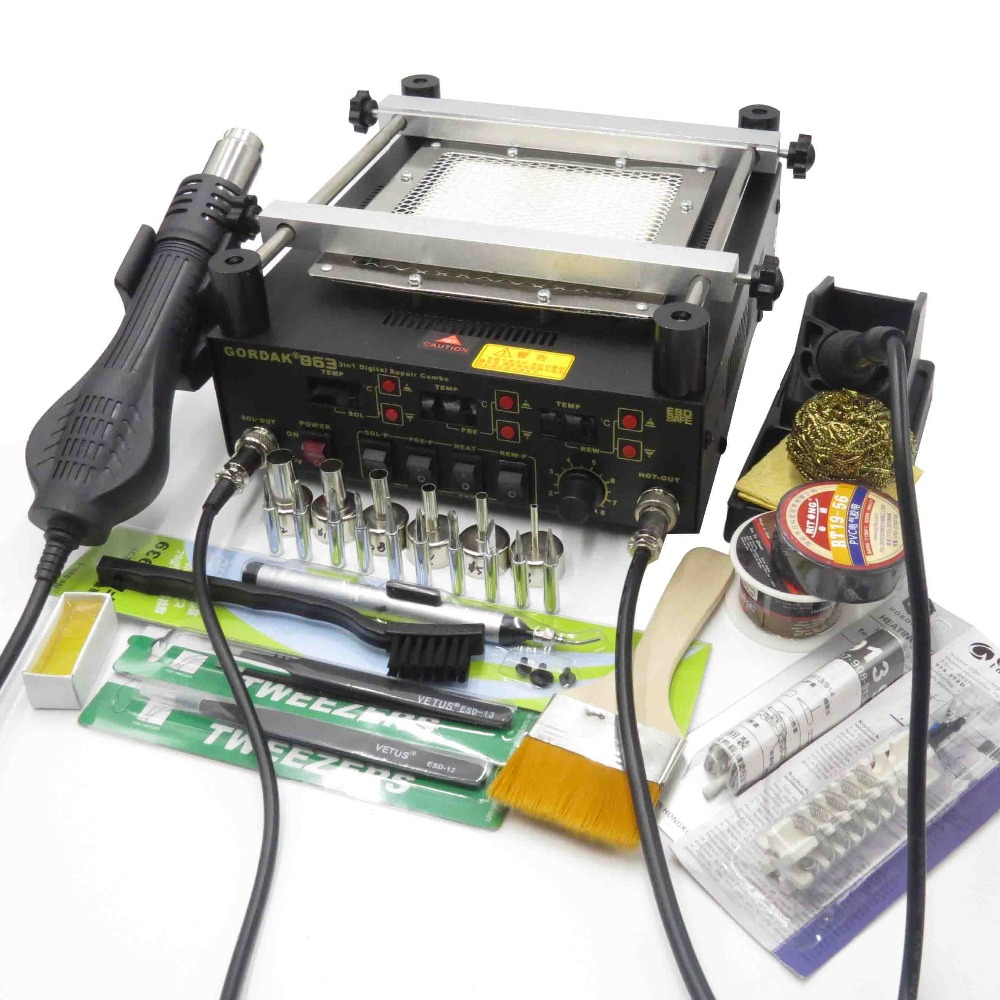 Gordak 863 Hot Air Heat Gun BGA Rework Solder Station + Electric Soldering iron + IR Infrared Preheating Station With Free Gifts shuttle star sp380iitouch screen hot air bga rework station sp 380ii free tax to russia