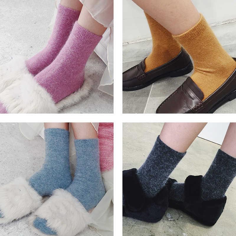 CHAOZHU ขนสัตว์กระต่ายขนสัตว์ Thicken ถุงเท้าอบอุ่นฤดูหนาวผู้หญิงนุ่มสี basic skarpetki z trendem mody 2 คู่เลดี้ถุงเท้า
