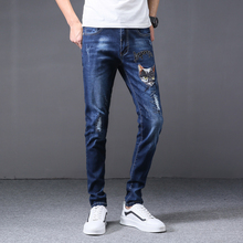2019 Fashion Korean casual jeans men brand straight hole ripped distressed blue printed homme denim trousers plus size 29-38 european and american style slim straight jeans new brand colorful cloth stitching hole water wash denim trousers size 29 38