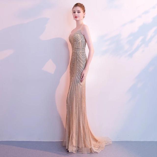 D136 luxury elegant spaghetti straps gold beading long mermaid dress 1