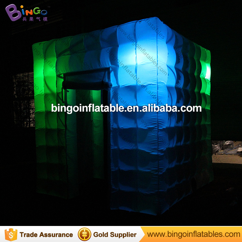 Hot Portable Photo Booth with Lighting 2.5L * 2.5W * 2.7HM Inflatabe Cube Tipi Tent Inflatable Booth with Free Fan toy tents wonderful cube led inflatable tent inflatable trade show house inflatable photo booth toy tent