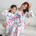 Navidad Fmaily Juego Mirada Madre Hija Pijamas ropa de los cabritos de la ropa de manga larga pijamas de algodón pijamas de las muchachas