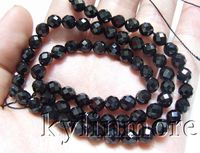 8SE09763a 6mm Black Faceted round beads