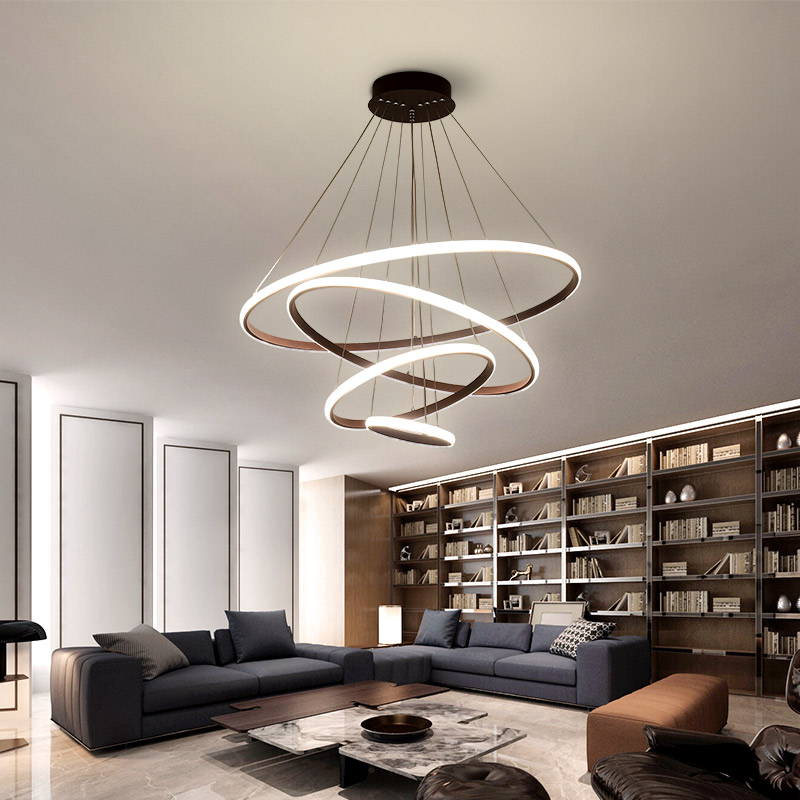 White/Coffee LED Pendant lights for living room foyer Circle Rings acrylic aluminum body LED home Lamp fixtures AC85 260V dero-in Chandeliers from Lights & Lighting    3
