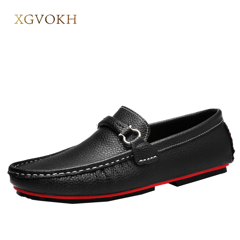 Men Shoes Genuine Leather Loafers Mens Slip on Driving Shoes Casual Classic Boat Xgvokh Brand Casual Moccasin Black Brown Flats tassel casual loafers men shoes genuine leather flat anti skid driving moccasin slip on spring new black white sperry shoes male