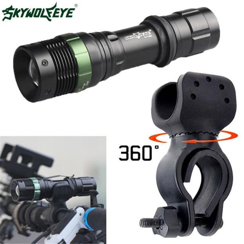 Super Bright CREE XML T6 LED Zoomable Flashlight Bike Bicycle 360 degree Mount Clip cree xm l t6 bicycle light 6000lumens bike light 7modes torch zoomable led flashlight 18650 battery charger bicycle clip
