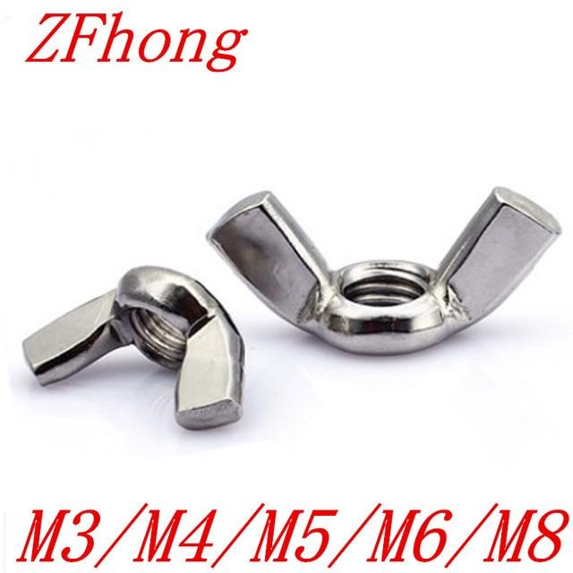 10 cái M3 M4 M5 M6 M8 DIN315 304 Thép Không Gỉ Tay Thắt Chặt Đai Ốc Bướm Nut Phôi Wing Nuts