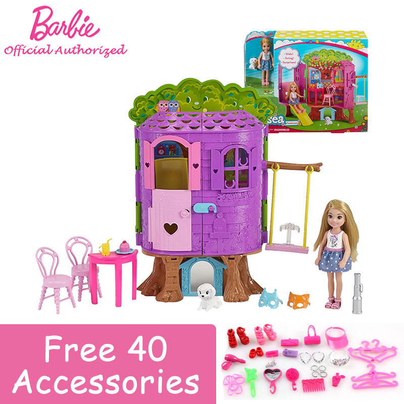 Barbie Brand New Baby Toy 2018 Lovely Mini Doll Toy Barbie Club Chelsea Treehouse with Slide