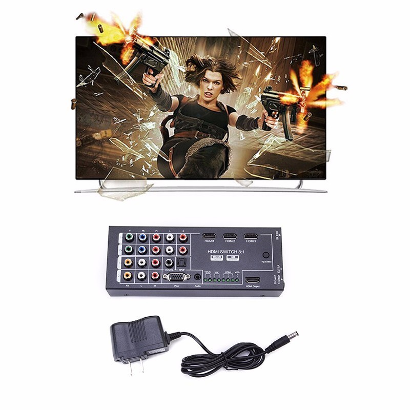Multi Functional HDMI Audio Extractor With 8 Inputs To 1 HDMI Output With Optical Coaxial 5.1 Channel Support 3D Surround Sound-in HDMI Cables from Consumer Electronics    3