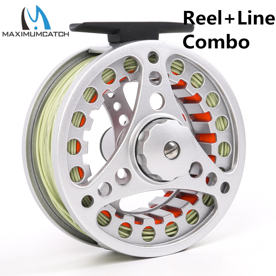 Maximumcatch Fly Reel og Line Combo 3-8wt Silver Fly Reel Set med fiske linje