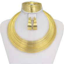 Dubai Brand Name Jewelry Sets Gold Filled Necklace Bracelet Earrings Ring Jewellery Fashion African Women Set