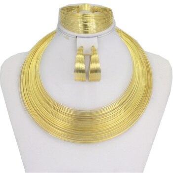 Liffly de moda Dubai oro conjuntos de joyas para mujeres boda de encanto de pulsera de collar de pendientes de joyería nupcial