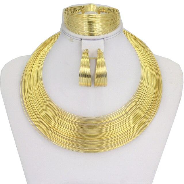 Mode Dubai Schmuck Sets Afrikanischen Frauen Gold Draht Halskette ...