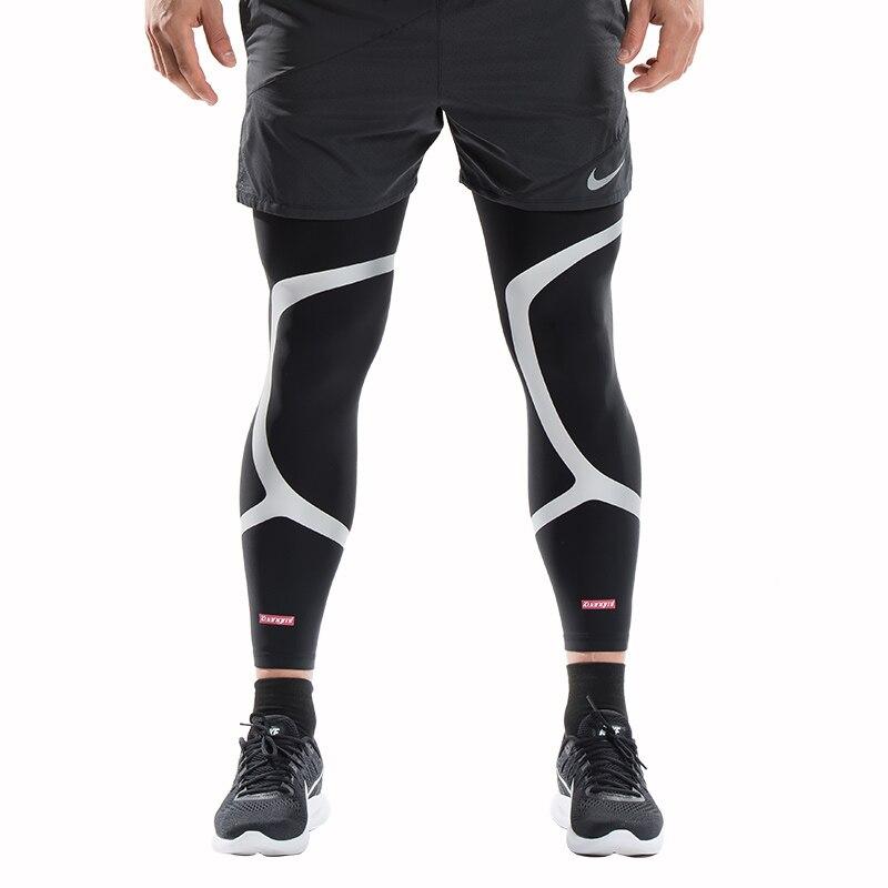 Kuangmi 2 Pcs Leg Compression Sleeve Basketball Support Sports Knee Protector Socks Pads Shin Guard Football
