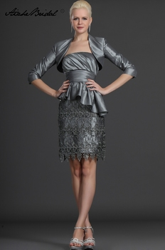 Formal Womens Dress Short Mother Of The Groom Dresses Elegant Strapless Gray Lace Taffeta of the Bride with Jacket