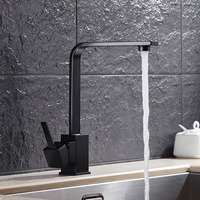 Kitchen Faucets Modern Square Swivel 360 Degree Water Mixer Tap Black Single Hole Handle Cold And