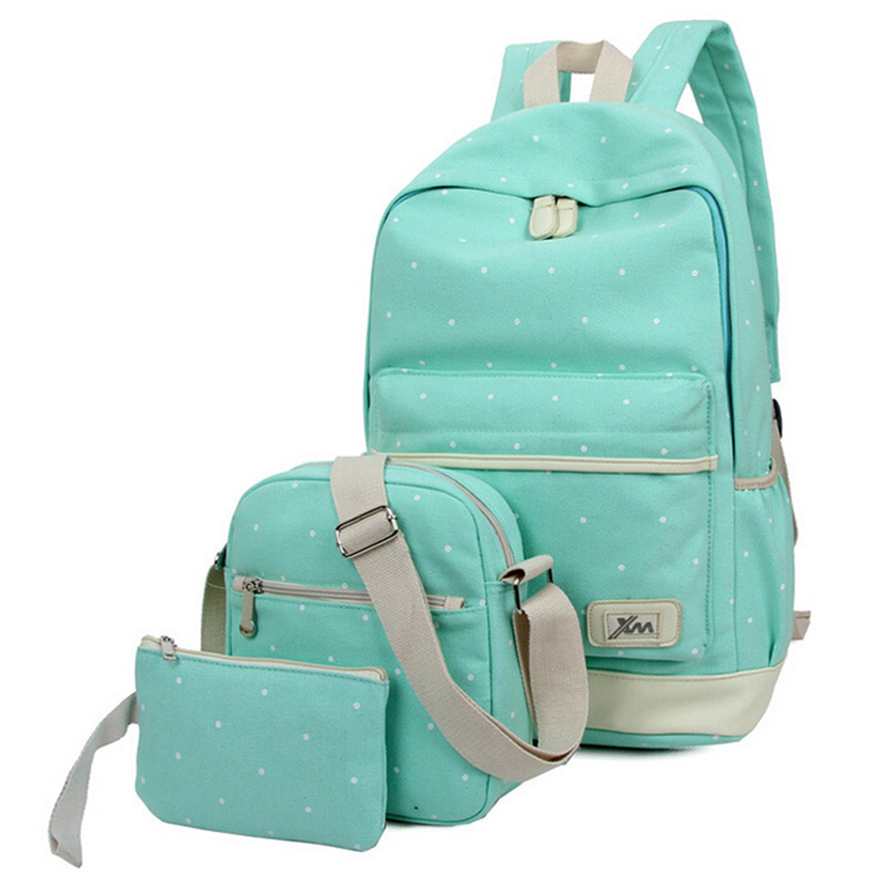 3pcs/set 2016 newest women backpack high quality dot school bags for teenage girls travel student bag set purse canvas backpacks canvas backpack women dot school bag for teenagers girls preppy style composite bags set travel high quality female backpacks