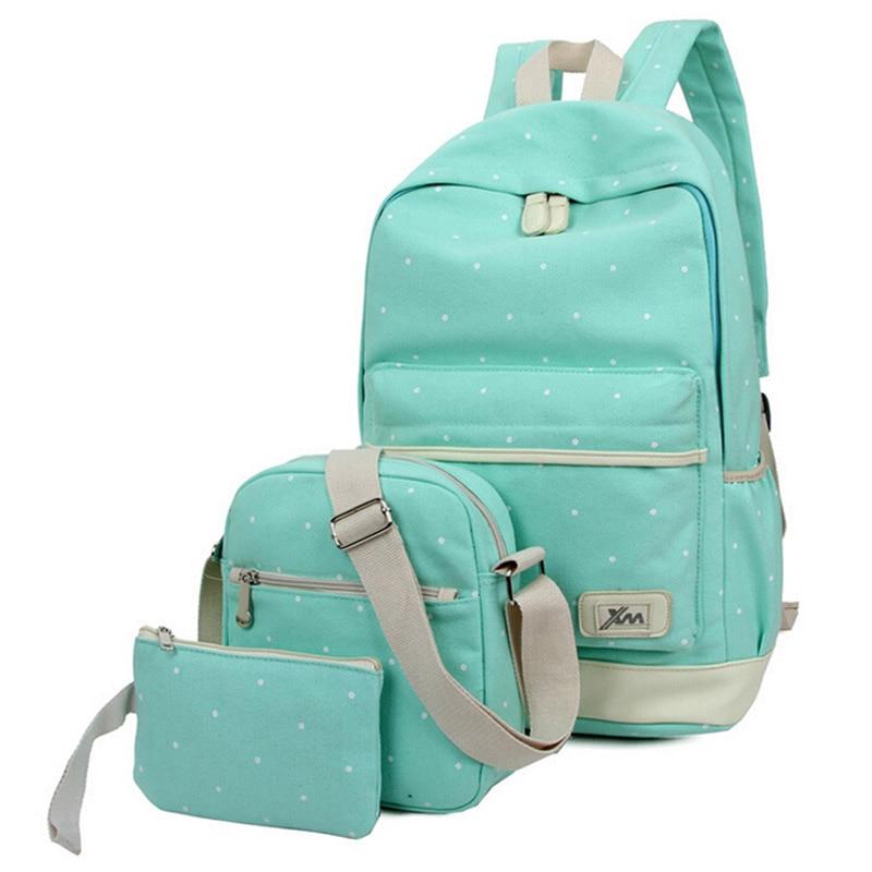3pcs/set 2016 newest women backpack high quality dot school bags for teenage girls travel student bag set purse canvas backpacks