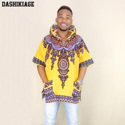 Dashikiage Amarelo Moderno Mens Hip Hop Africano Dashiki Tecido Alongado com palangre Capuz t camisa Com Capuz
