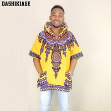 Dashikiage צהוב Mens הברנש היפ הופ האפריקאי דאשיקי בד מוארך longline הסווטשרט t חולצה Hoody