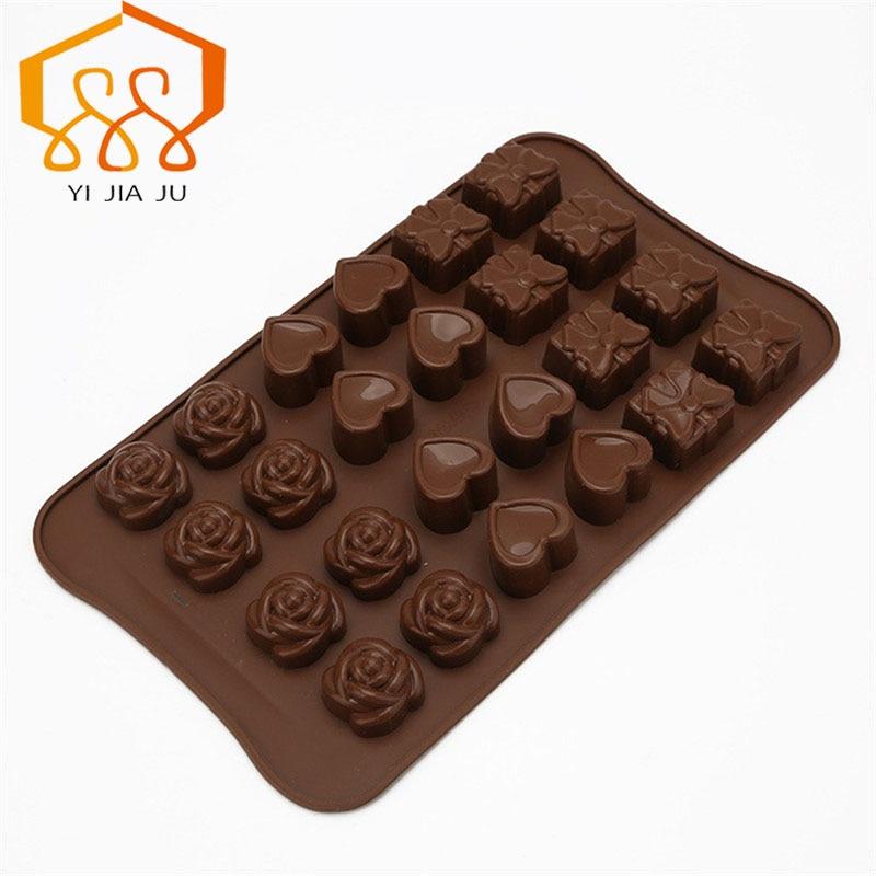 Envío gratis herramientas de pastel de cocina para hornear hecho a mano diy 24 georgia rose amor molde de chocolate de silicona pastel decoración