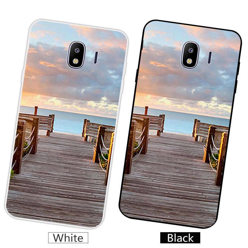 5.5 inch đối Với Samsung Galaxy J4 2018 Silicone Mềm TPU Trường Hợp Điện Thoại Cho Galaxy J400 SM-J400F EU Phiên Bản Matte Coque bằng gỗ Capa
