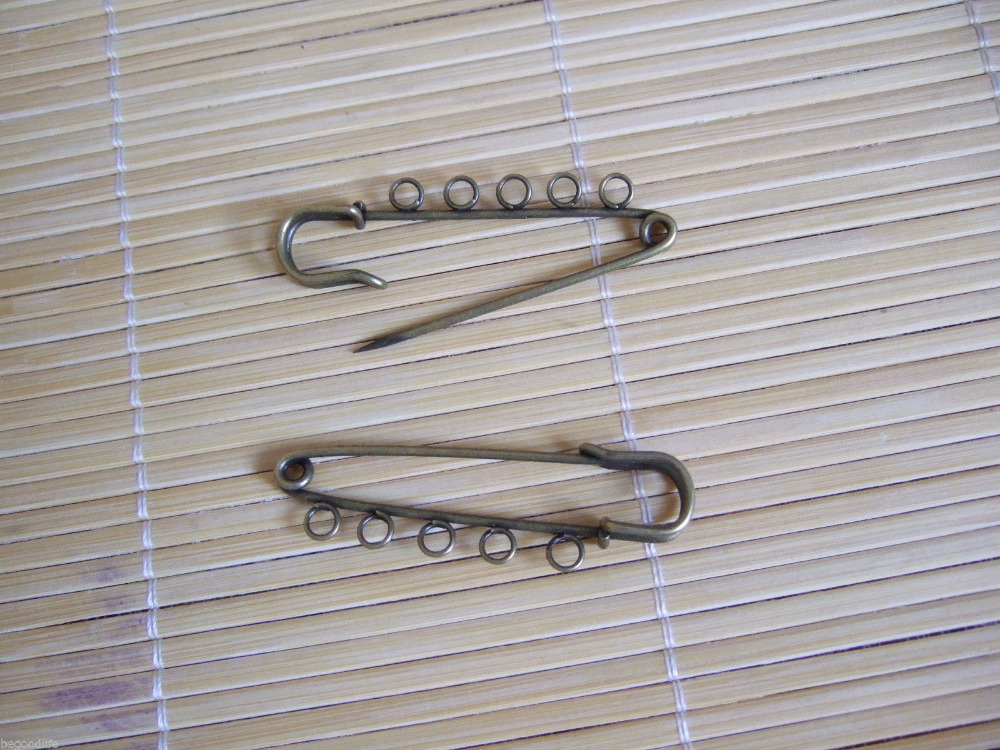 6Antique Bronze Kilt Pin Metal Safety Pins Brooches 56x15mm with 5 Loops