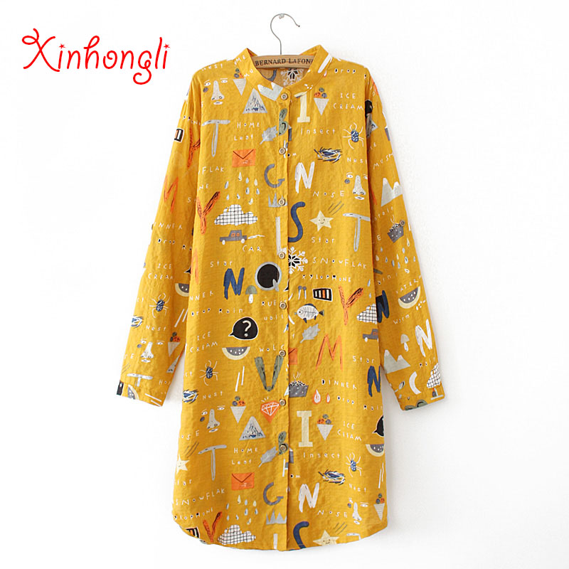 Plus size cotton print women loose long blouse 2020 new spring autumn casual ladies stand collar shirts female tops oversize