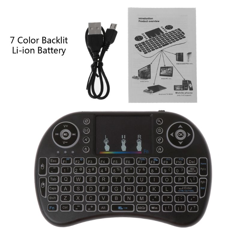 7 Color Backlit <font><b>i8</b></font> Wireless <font><b>Keyboard</b></font> 2.4GHz Touchpad Fly Air Mouse PC TV PS3 image