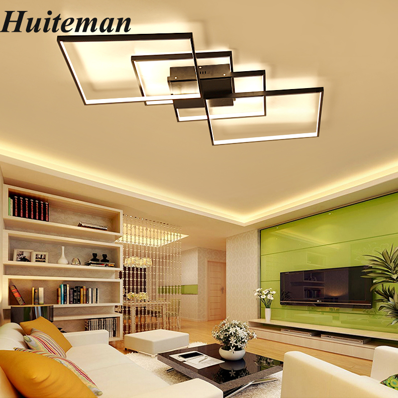 Modern Led Ceiling Lights For Living Room Bedroom Dining Room Home Dimmable Ceiling Lamp Aluminum Acrylic LightingLight Fixtures noosion modern led ceiling lamp for bedroom room black and white color with crystal plafon techo iluminacion lustre de plafond