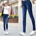 Estilo coreano algodón de las mujeres jeans de moda más tamaño silm ripped boyfriend jeans vaquero pantalones de mezclilla blanqueada patchwork manguito D217
