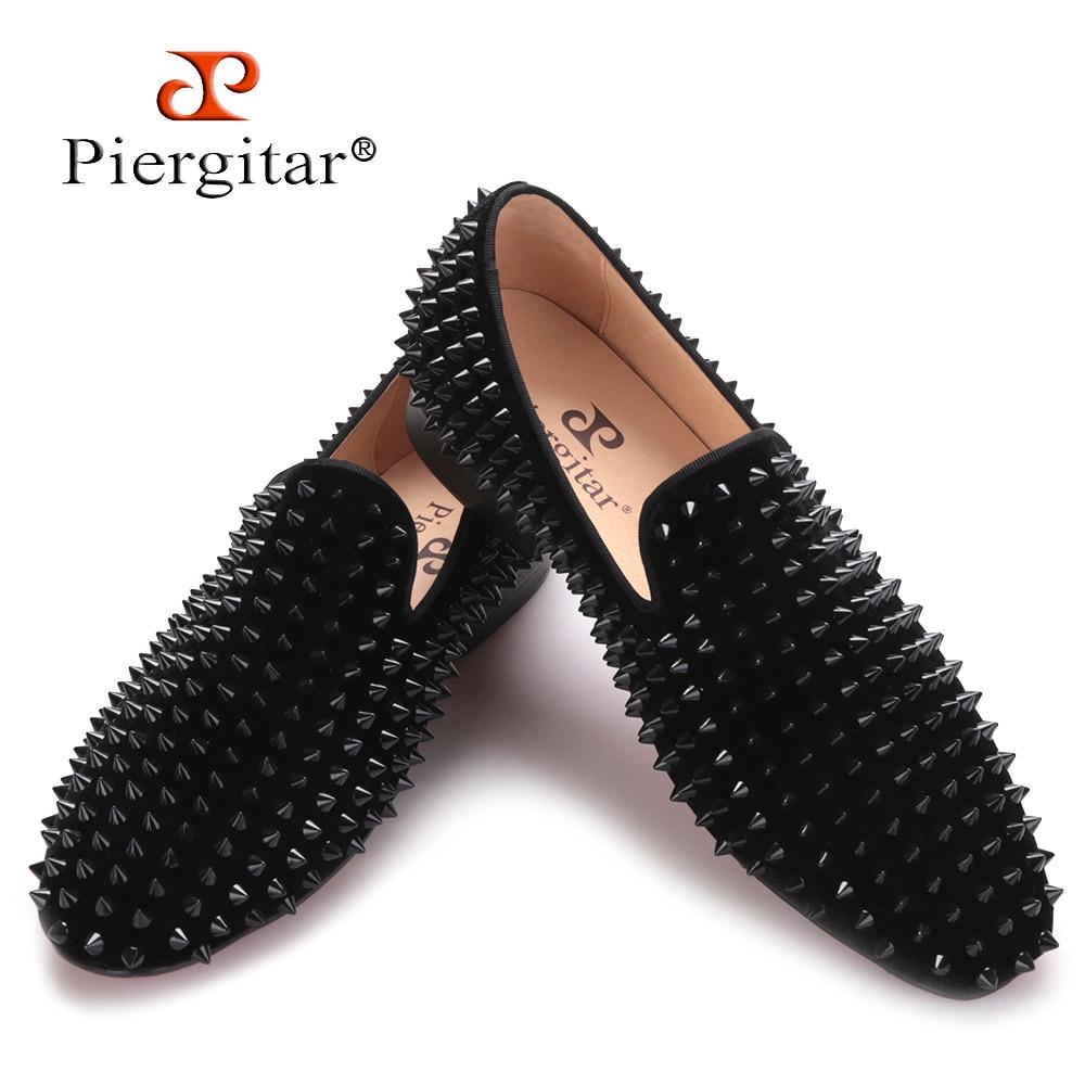 Piergitar 2017 new Black velvet print Black rivet men handmade loafers Fashion Party Banquet men smoking slippers male's flats