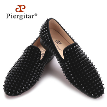 Black velvet print Black rivet men handmade loafers Fashion Party Banquet men smoking slippers male's flats