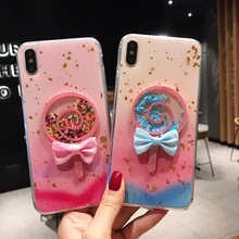 Cute Glitter Lollipop Phone Case For iPhone X XR XS Max Cases iphone 6 6S 7 8 Plus Colorful Candy Gradient Soft TPU Cover