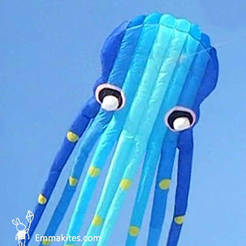 15M 3D Blue Tube Shaped Parafoil Octopus Kite Software Power Kite Outdoor Festival Shows new 3d 75ft tube shaped parafoil octopus kite soft huge 23meters kite single line kite