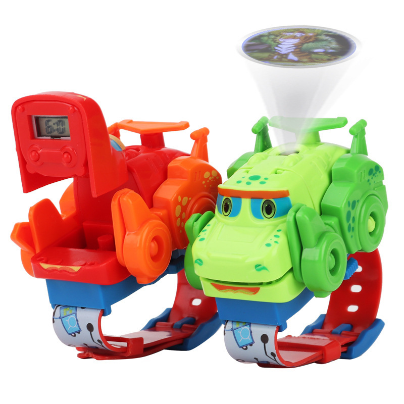 Kids Watch New Deformation Watch Dinosaur Toys Can Project Children Watch Cartoon Electronic Watch Q Cute Dragon