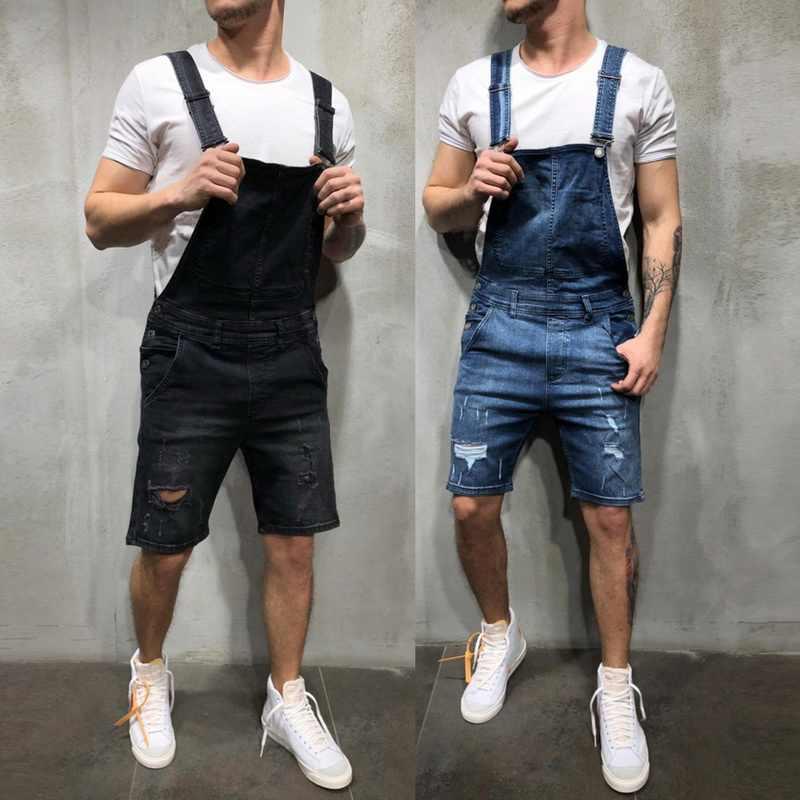 MJARTORIA ファッション男性ジーンズをリッピングジャンプスーツショートパンツ夏ストリートユーズド加工デニムよだれかけオーバーオール男サスペンダーパンツ